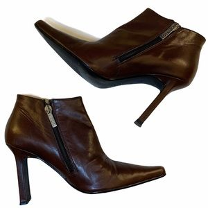 Aldo Brown Leather Rectangular Chunky Ankle Boots